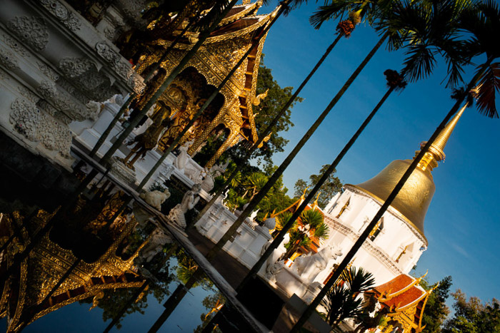 stunning vew of a thai temple shot with dutch angle photography