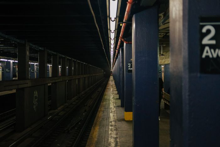 Photo of a subway station in low light