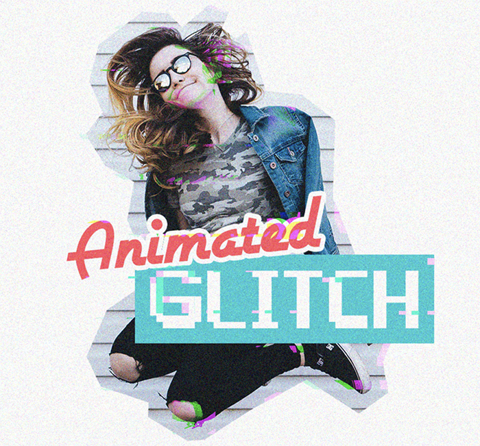 Animated Glitch Photoshop Action - best free photoshop actions