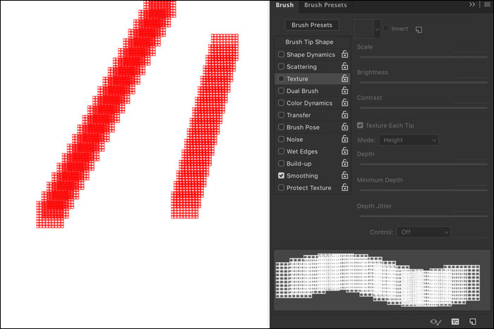 A screenshot showing how to use free Photoshop Brushes