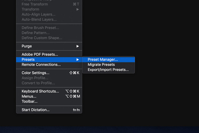 A screenshot showing how to use Photoshop Brushes - preset manager
