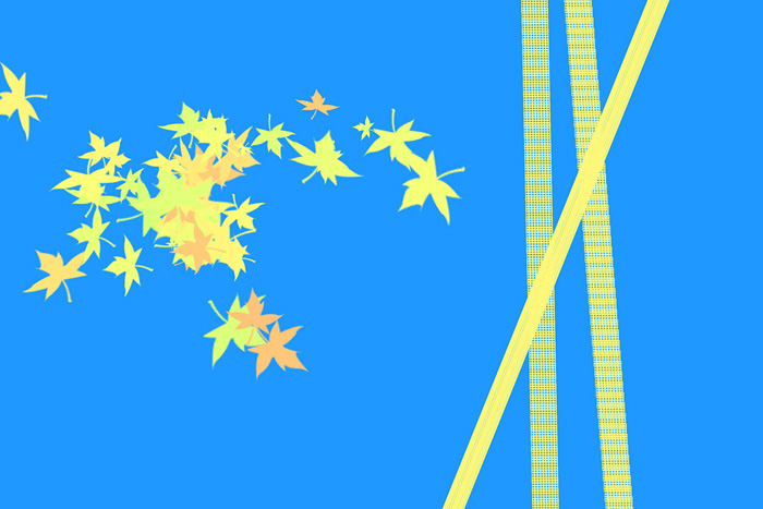 a cool yellow and blue graphic made using Photoshop brushes