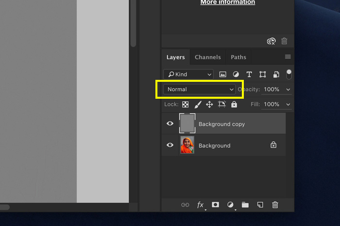 A screenshot showing how to use the High Pass Filter in Photoshop - set the blending mode