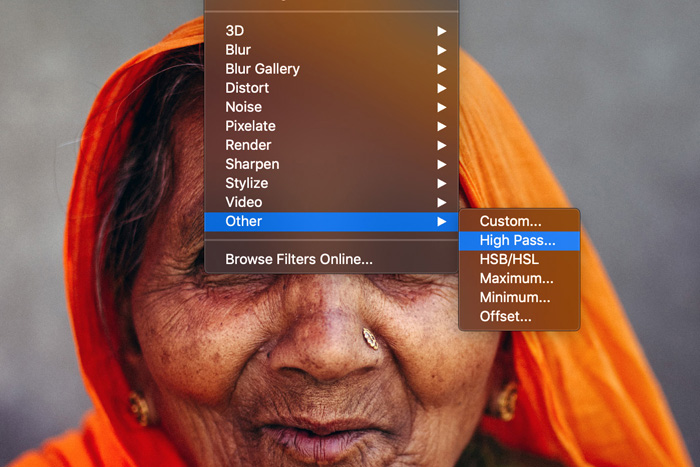A screenshot showing how to apply the High Pass Filter in Photoshop