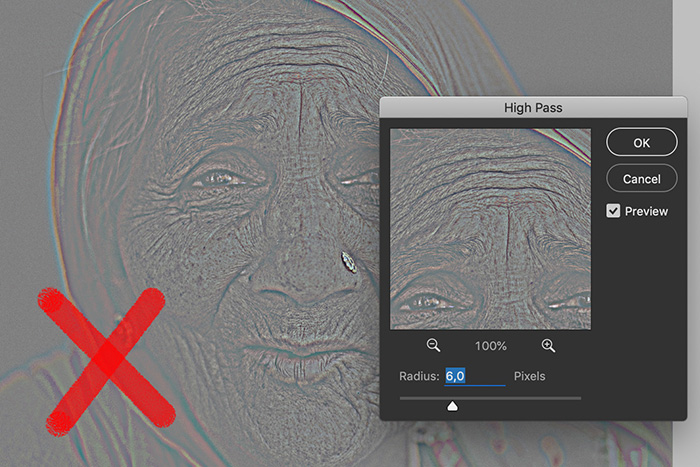 A screenshot showing how to use the High Pass Filter in Photoshop
