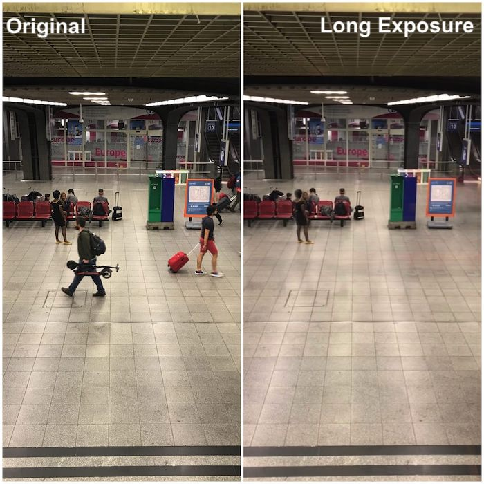 split screen photo showing how to use long exposure effect in iPhone 8 camera