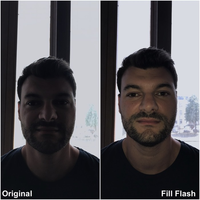 a split screen portrait of a male model shot with and without using fill flash