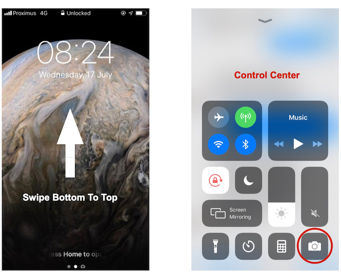 A screenshot of how to open camera app from the control center, iphone 8 camera tips