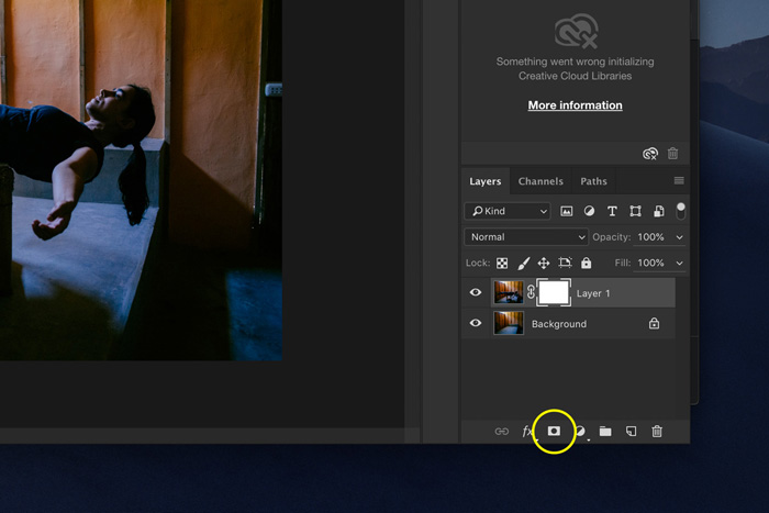 A screenshot showing how to edit Levitation Photography in Photoshop - create a layer mask