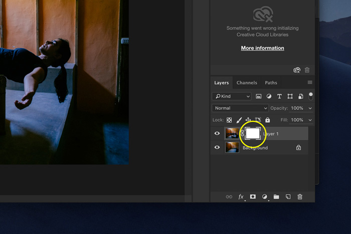 A screenshot showing how to edit Levitation Photography in Photoshop - layer mask