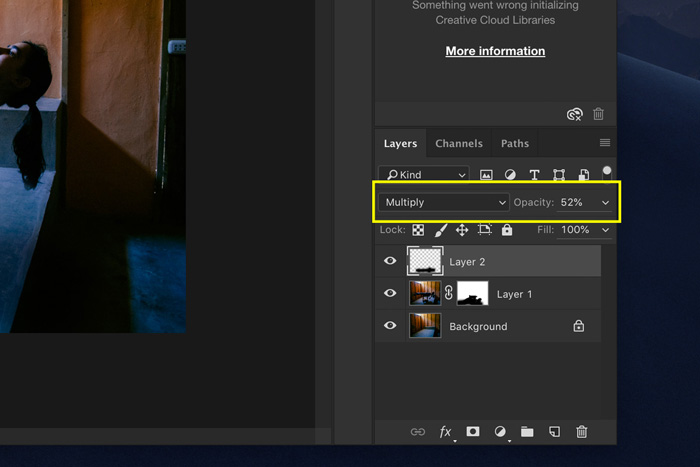 A screenshot showing how to edit Levitation Photography in Photoshop - blending mode
