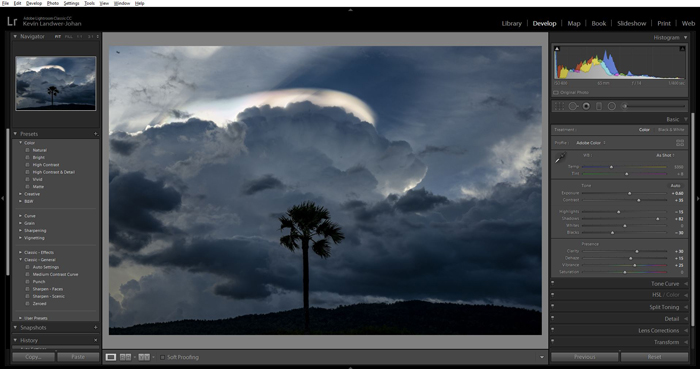 A screenshot showing how to use Lightroom develop presets
