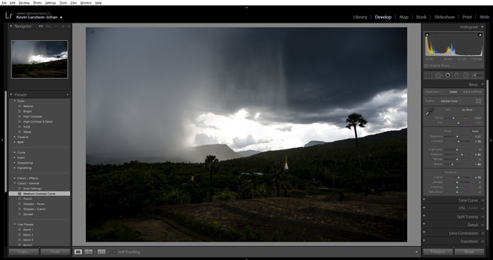 A screenshot showing how to use Lightroom  presets