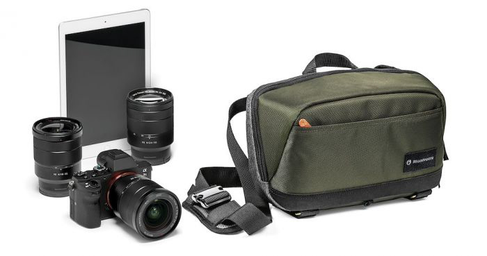 Manfrotto Lifestyle Street CSC Waistpack beside a DSLR camera and lenses