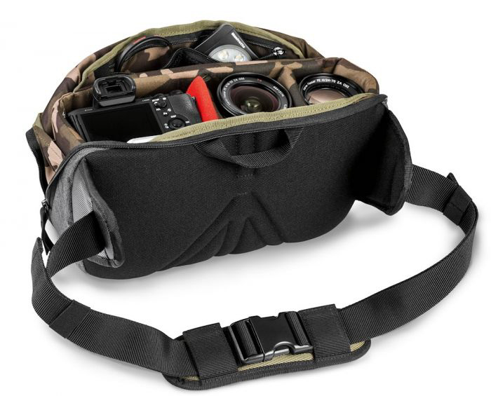 A DSLR and lenses and Manfrotto Lifestyle Street CSC Waistpack