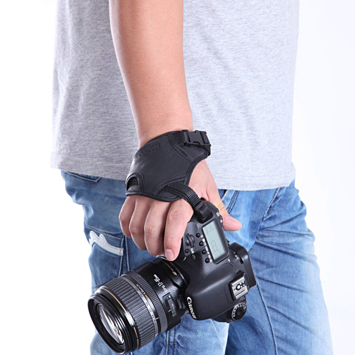 A DSLR with a Movo Photo HSG-2 DualStrap attached - best camera straps