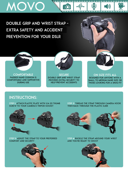 a sheet of instructions for using the Movo Photo HSG-2 DualStrap