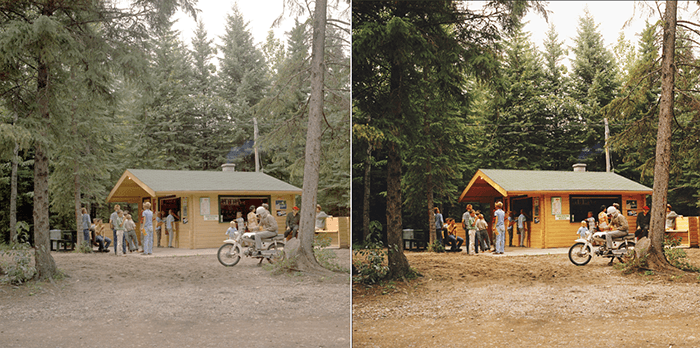 A diptych of the same old photos before and after restoring in Photoshop