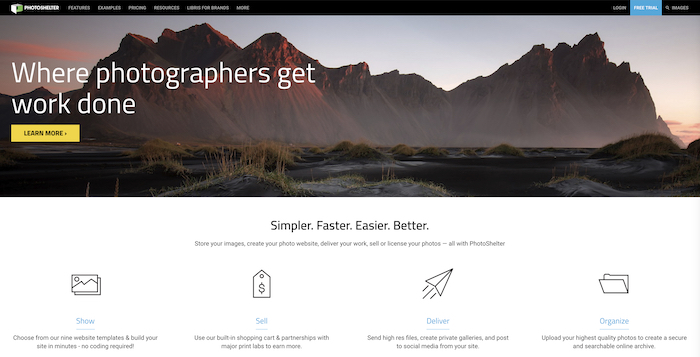 a screenshot of Photoshelter website - photography business tools