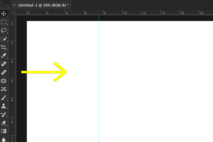 A screenshot showing how to add guides in Photoshop