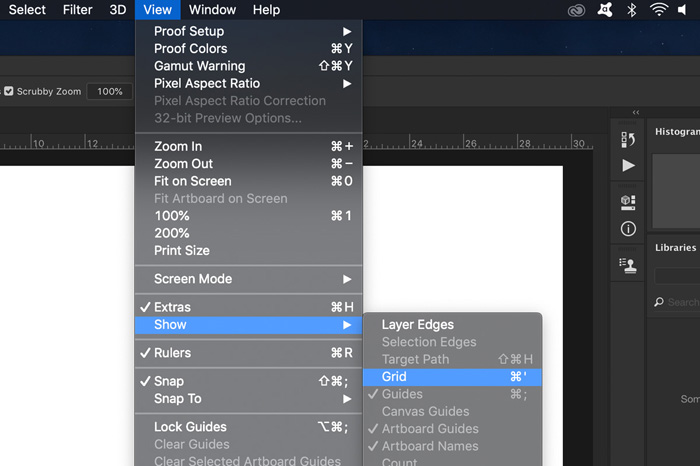 A screenshot showing how to add a grid using Photoshop