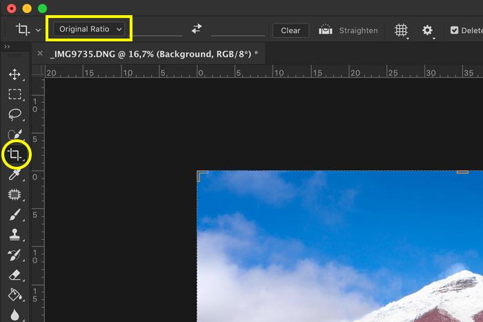 screenshot showing how to photoshop landscape photos - crop