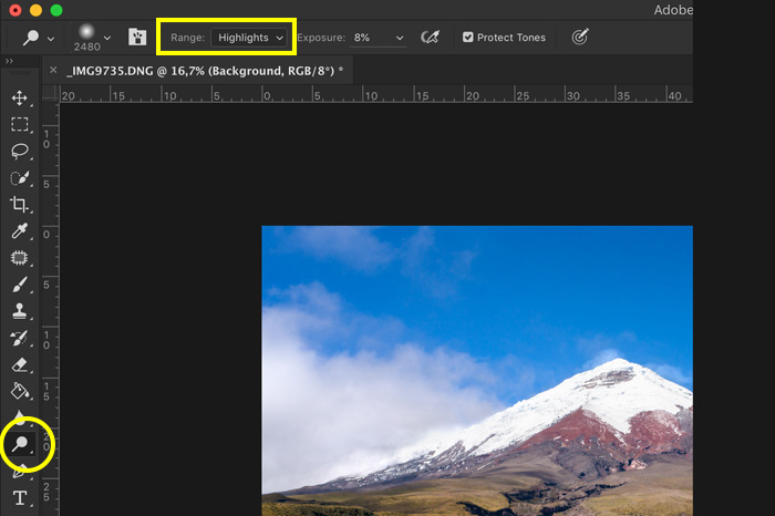 screenshot showing how to photoshop landscape photos - dodge and burn