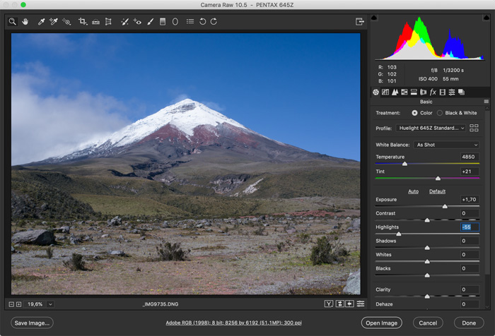 screenshot showing how to photoshop landscape photos - Set the Right Exposure