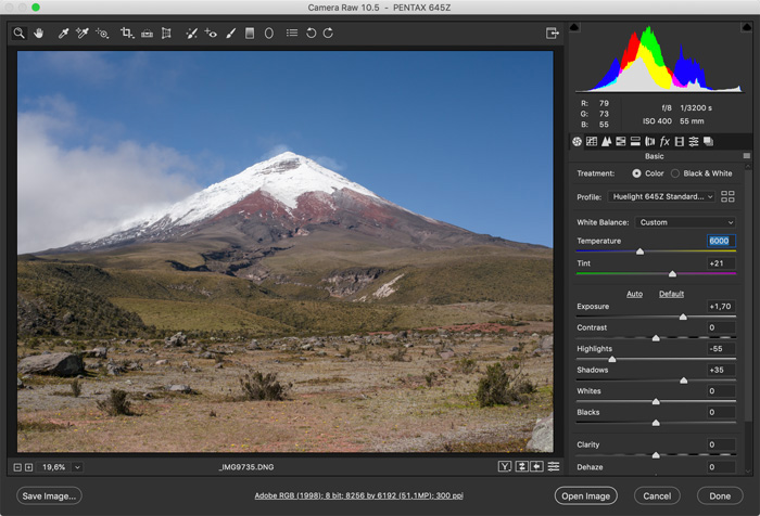 screenshot showing how to photoshop landscape photos -white balance