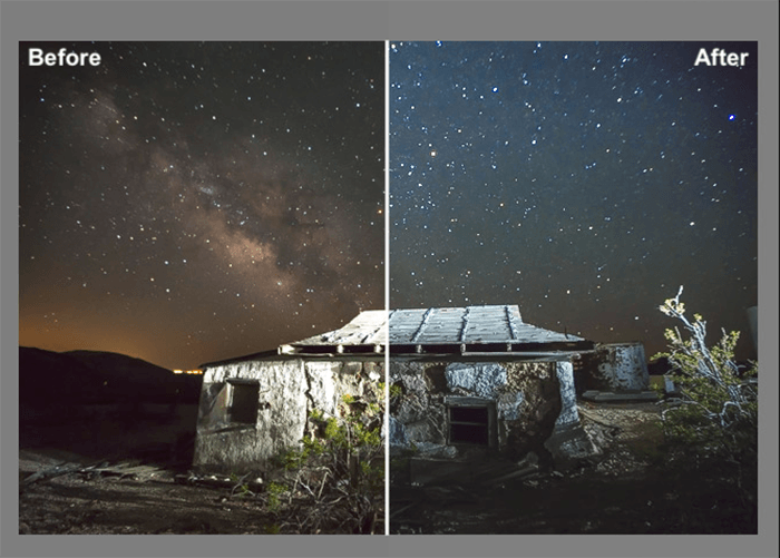 astrophotography diptych before and after editing with Gavin Hardcastle's Milky Way Lightroom Presets