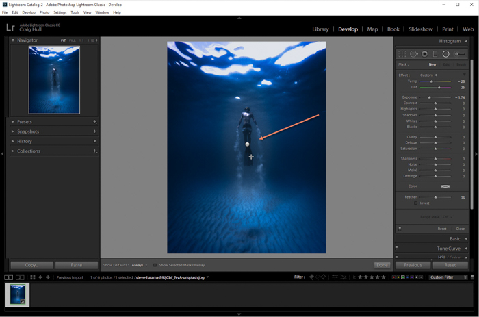 a screenshot showing how to create a vignette in lightroom