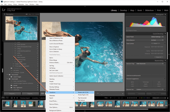 a screenshot showing how to rotate an image in Lightroom