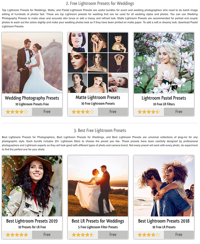 A screenshot of Fix the Photo free sample presets for Instagram