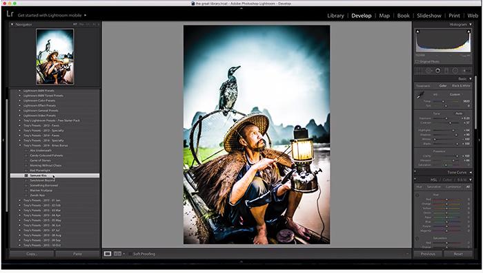 A screenshot of using trey Ratcliffs free Lightroom presets