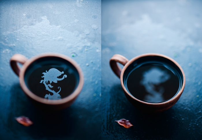 a creative still life diptych featuring flower shaped reflections in a coffee cup