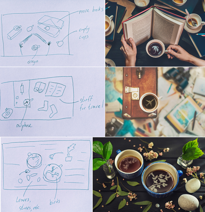 a photo grid including sketches and photos of creative still life featuring cool reflections in a coffee cup