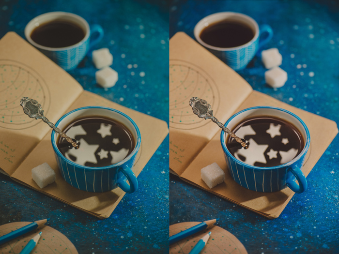 a creative still life diptych featuring star shaped reflections in a coffee cup