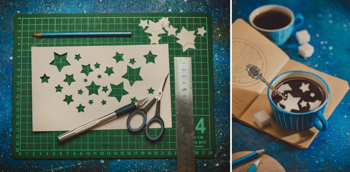 a triptych photo of cut out silhouettes of stars in a piece of paper on a cutting mat, plus the resulting photo of star shaped reflections in a coffee cup