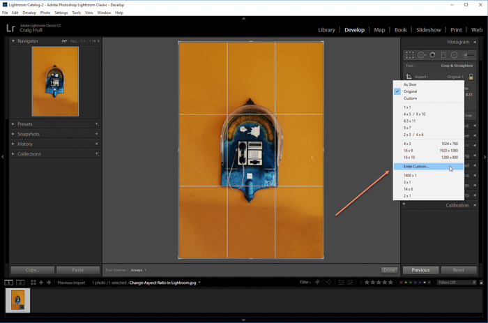 a screenshot showing how to create a custom aspect ratio in Lightroom