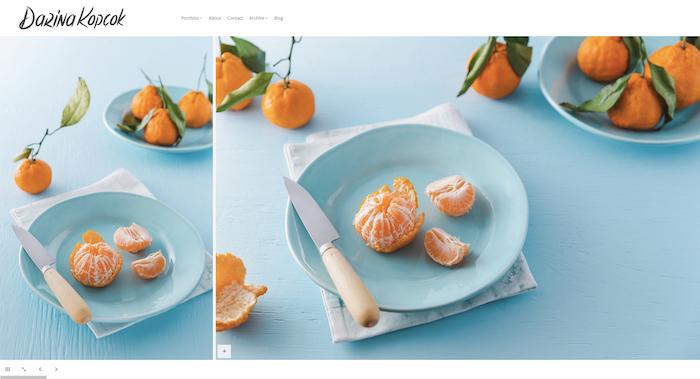 Díptico luminoso e espaçoso para fotografia de comida
