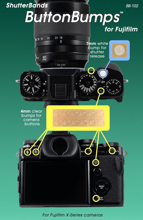 a product shot of shutterbands button bumps