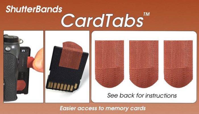 a product shot of Shutterbands card tabs