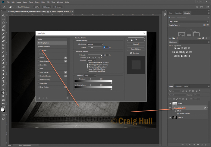 a screenshot showing how to make a watermark in Photoshop