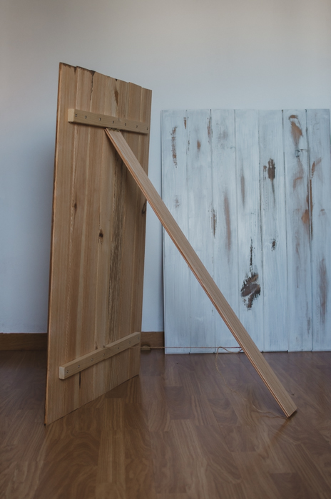 shot of making a DIY wood backdrop for photography