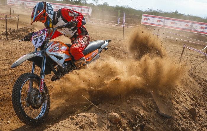 action shot of a motorbike rider