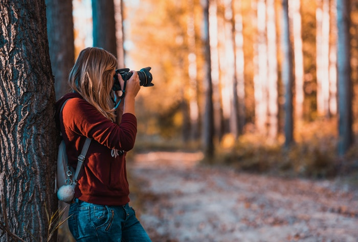 a female photographer shooting in a forest