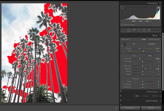 a screenshot of editing a photo using the Lightroom histogram