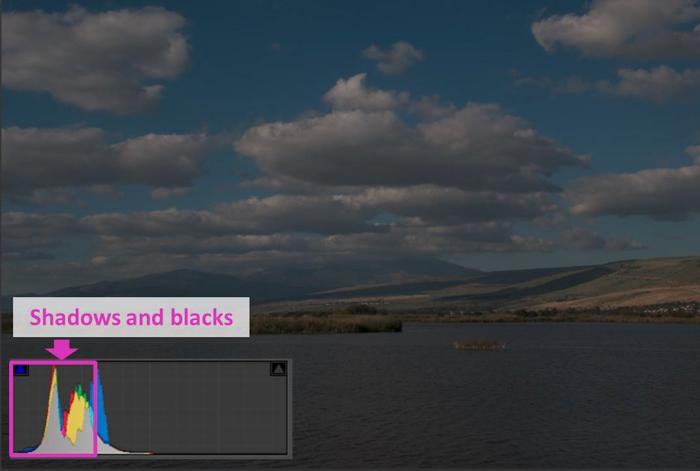 a coastal landscape and lightroom histogram showing shadows and blacks