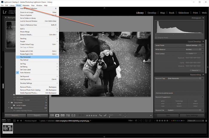 a screenshot showing how to flip an image in Lightroom
