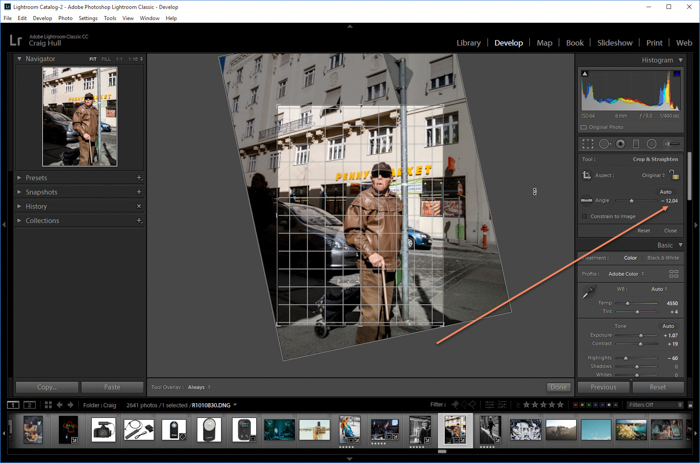 a screenshot showing how to straighten an image in Lightroom